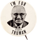 Political:Pinback Buttons (1896-present), Harry S Truman: Rare 1952 Picture Pin....