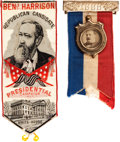 Political:Ribbons & Badges, Grover Cleveland and Benjamin Harrison: Pair of Ribbon Badges.... (Total: 2 Items)