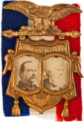 Political:Ferrotypes / Photo Badges (pre-1896), Cleveland & Thurman: Fancy Cardboard Jugate....