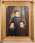 Political:3D & Other Display (pre-1896), Ulysses S. Grant: Addie Ballou Oil on Canvas of Grant's Three Sons....