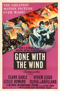 """Gone with the Wind (MGM, R-1954). One Sheet (27"""" X 41"""")"""