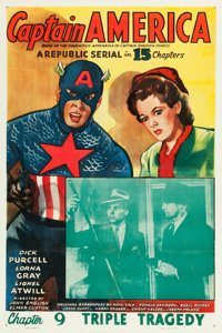 "Captain America (Republic, 1944). One Sheet (27"" X 41"") Chapter 9 -- ""Triple Tragedy."""