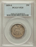 Seated Quarters: , 1859-S 25C VF25 PCGS. PCGS Population (6/30). NGC Census: (0/9).Mintage: 80,000. Numismedia Wsl. Price for problem free NG...