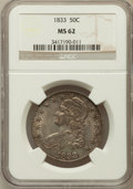 Bust Half Dollars: , 1833 50C MS62 NGC. NGC Census: (97/205). PCGS Population (91/189).Mintage: 5,206,000. Numismedia Wsl. Price for problem fr...