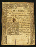 Colonial Notes:Connecticut, Connecticut October 10, 1771 10s Slash Cancel Fine.. ...