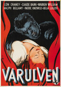 "Movie Posters:Horror, The Wolf Man (Universal, 1943). Swedish One Sheet (27.5"" X 39.5"").Directed by George Waggner. Starring Lon Chaney, Jr., Cla..."