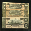Confederate Notes:1864 Issues, T67 $20 1864 Fine. T68 $10 1864 Two Examples VG-Fine or Better.. ... (Total: 3 notes)
