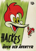 "Movie Posters:Animated, Woody Woodpecker Stock (Universal, 1950). Swedish One Sheet (27.5""X 39.5""). Directed by Walter Lantz. Starring Woody Woodpe..."