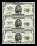 National Bank Notes:Pennsylvania, McKeesport, PA - $5 1929 Ty. 1 The First NB Ch. # 2222 Uncut Stripof Three. ...