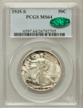 Walking Liberty Half Dollars: , 1935-S 50C MS64 PCGS. CAC. PCGS Population (484/431). NGC Census:(311/221). Mintage: 3,854,000. Numismedia Wsl. Price for ...