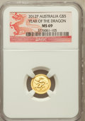 Australia: , 2012-P G$5 Year of the Dragon MS69 NGC. NGC Census: (463/684). PCGSPopulation (523/0)....
