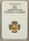 Modern Bullion Coins, 1999-W G$5 Tenth-Ounce Gold Eagle With W MS69 NGC. NGC Census:(1974/266). PCGS Population (1781/19). Numismedia Wsl. Pric...