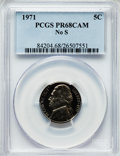 Proof Jefferson Nickels: , 1971 5C No S PR68 Cameo PCGS. PCGS Population (60/10). NGC Census:(20/12). Numismedia Wsl. Price for problem free NGC/PCG...
