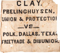Political:Textile Display (pre-1896), Henry Clay: 1844 Homemade Parade Banner....