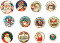 Advertising:Pocket Mirrors & Pinbacks, Collection of Santa Claus Buttons.... (Total: 12 Items)