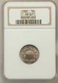 Proof Shield Nickels: , 1881 5C PR67 NGC. NGC Census: (23/1). PCGS Population (23/0).Mintage: 3,575. Numismedia Wsl. Price for problem free NGC/PC...