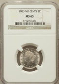 Liberty Nickels: , 1883 5C No Cents MS65 NGC. NGC Census: (1852/531). PCGS Population(1377/378). Mintage: 5,479,519. Numismedia Wsl. Price fo...