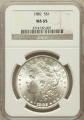 Morgan Dollars: , 1882 $1 MS65 NGC. NGC Census: (1160/251). PCGS Population(1258/212). Mintage: 11,101,100. Numismedia Wsl. Price forproble...