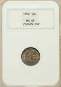 Barber Dimes: , 1892 10C MS65 NGC. NGC Census: (134/84). PCGS Population (125/77).Mintage: 12,121,245. Numismedia Wsl. Price for problem f...