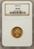 Three Dollar Gold Pieces: , 1874 $3 AU58 NGC. NGC Census: (906/761). PCGS Population (456/651).Mintage: 41,800. Numismedia Wsl. Price for problem free...