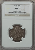 Bust Quarters, 1836 25C VF25 NGC. NGC Census: (24/119). PCGS Population (17/187). Mintage: 472,000. Numismedia Wsl. Price for problem free...
