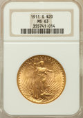 Saint-Gaudens Double Eagles: , 1911-S $20 MS63 NGC. NGC Census: (1799/1702). PCGS Population(1260/2010). Mintage: 775,750. Numismedia Wsl. Price for prob...