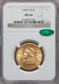 Liberty Eagles: , 1902-S $10 MS64 NGC. CAC. NGC Census: (678/137). PCGS Population(504/98). Mintage: 469,500. Numismedia Wsl. Price for prob...