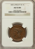 Large Cents, 1855 1C Upright 55 AU55 NGC. NGC Census: (32/524). PCGS Population(49/345). Mintage: 1,574,829. Numismedia Wsl. Price for ...