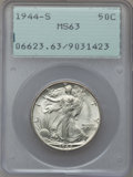 Walking Liberty Half Dollars: , 1944-S 50C MS63 PCGS. PCGS Population (1699/7391). NGC Census:(679/4782). Mintage: 8,904,000. Numismedia Wsl. Price for pr...