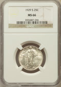 Standing Liberty Quarters: , 1929-S 25C MS66 NGC. NGC Census: (120/21). PCGS Population (108/9).Mintage: 1,764,000. Numismedia Wsl. Price for problem f...