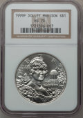 Modern Issues: , 1999-P $1 Dolley Madison Silver Dollar MS70 NGC. NGC Census: (913).PCGS Population (382). Numismedia Wsl. Price for probl...