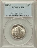 Standing Liberty Quarters: , 1918-S 25C MS64 PCGS. PCGS Population (190/79). NGC Census:(147/88). Mintage: 11,072,000. Numismedia Wsl. Price for proble...