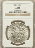 Morgan Dollars: , 1894-S $1 AU58 NGC. NGC Census: (217/1820). PCGS Population(212/3141). Mintage: 1,260,000. Numismedia Wsl. Price for probl...