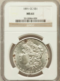 Morgan Dollars: , 1891-CC $1 MS61 NGC. NGC Census: (808/6180). PCGS Population(956/11267). Mintage: 1,618,000. Numismedia Wsl. Price for pro...