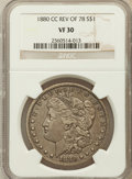 Morgan Dollars: , 1880/79-CC $1 Reverse of 1878 VF30 NGC. NGC Census: (3/1583). PCGSPopulation (9/2897). Mintage: 591,000. Numismedia Wsl. P...