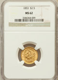 Liberty Quarter Eagles: , 1853 $2 1/2 MS62 NGC. NGC Census: (291/258). PCGS Population(167/176). Mintage: 1,404,668. Numismedia Wsl. Price for probl...