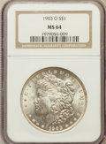 Morgan Dollars: , 1903-O $1 MS64 NGC. NGC Census: (2553/1697). PCGS Population(4052/2731). Mintage: 4,450,000. Numismedia Wsl. Price for pro...