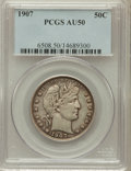 Barber Half Dollars: , 1907 50C AU50 PCGS. PCGS Population (14/307). NGC Census: (3/237).Mintage: 2,598,575. Numismedia Wsl. Price for problem fr...