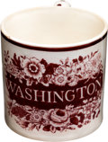 Political:3D & Other Display (pre-1896), George Washington: Decorated Creamware Child's Cup....