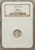 Seated Half Dimes: , 1845 H10C MS65 NGC. NGC Census: (29/7). PCGS Population (18/21).Mintage: 1,564,000. Numismedia Wsl. Price for problem free...