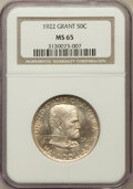 Commemorative Silver: , 1922 50C Grant No Star MS65 NGC. NGC Census: (689/224). PCGSPopulation (722/301). Mintage: 67,405. Numismedia Wsl. Price f...