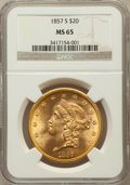 Liberty Double Eagles: , 1857-S $20 MS65 NGC. NGC Census: (62/31). PCGS Population (34/4).Mintage: 970,500. Numismedia Wsl. Price for problem free ...