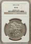 Morgan Dollars: , 1893-O $1 XF45 NGC. NGC Census: (214/1520). PCGS Population(326/1962). Mintage: 300,000. Numismedia Wsl. Price for problem...