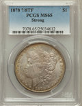 Morgan Dollars: , 1878 7/8TF $1 Strong MS65 PCGS. PCGS Population (239/5). NGCCensus: (94/3). Mintage: 544,000. Numismedia Wsl. Price for pr...