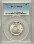 Seated Quarters: , 1891 25C MS65 PCGS. PCGS Population (62/28). NGC Census: (58/63).Mintage: 3,920,600. Numismedia Wsl. Price for problem fre...