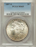 Morgan Dollars: , 1897-S $1 MS65 PCGS. PCGS Population (1068/256). NGC Census:(689/122). Mintage: 5,825,000. Numismedia Wsl. Price for probl...