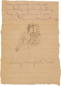 """Kissing Through the 'Bars'"": A Wonderful Frank James Pen and Ink Sketch Sent to his Wife Anna While in Jail A..."