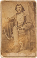 """Photography:Studio Portraits, """"Frenchie"""" Fronahall: A CDV Photo Showing Him with Ball and Chain...."""