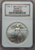 Modern Issues: , 1996-S $1 Community Service Silver Dollar MS70 NGC. NGC Census:(237). PCGS Population (114). Mintage: 23,500. Numismedia W...