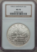 Modern Issues: , 1996-D $1 Smithsonian Silver Dollar MS70 NGC. NGC Census: (414).PCGS Population (313). Mintage: 31,320. Numismedia Wsl. Pr...